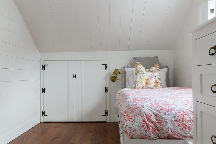 Attic Bedroom with Built In Bed Under Sloped Ceiling  Cottage  Bedroom