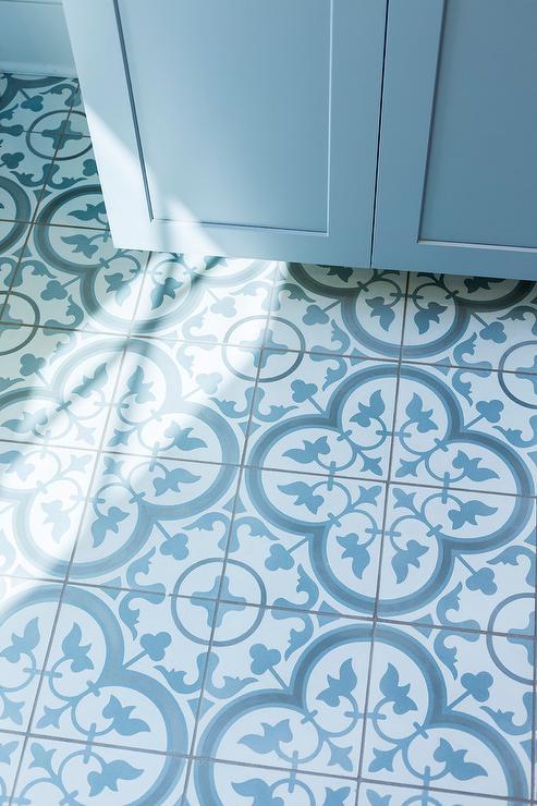 quatrefoil floor tiles transitional