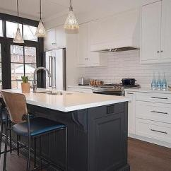 Two Tone Kitchen Island Cabinet Vintage Lights Design Ideas Black Center With Counter Stools