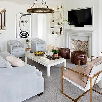 living room pouf cabinet design ideas round brown leather poufs dove gray sofa with pale pink pillows