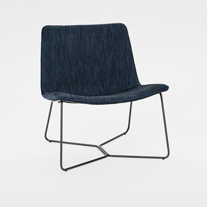 west elm everett chair most relaxing patchwork slope denim black metal lounge westelm com