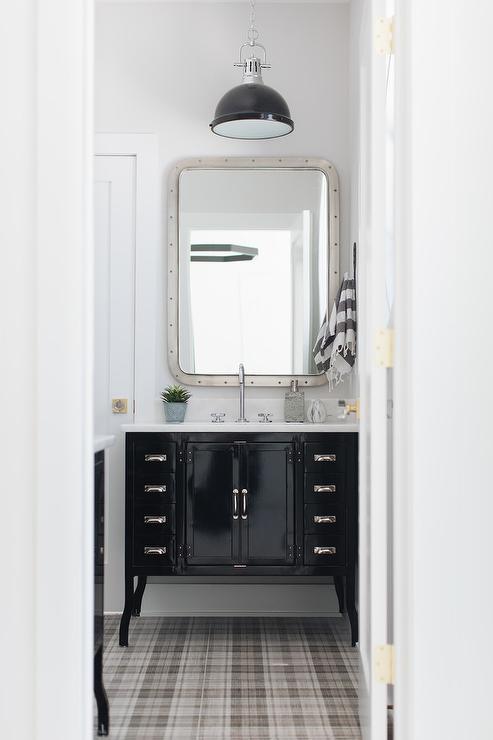 Black Metal Vintage Bath Vanity With Gray Plaid Carpeting Cottage Bathroom