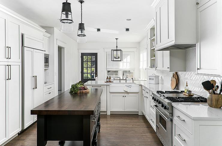Charcoal Gray Lower Kitchen Peninsula With Wood And Metal
