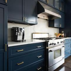 Black Glass Kitchen Cabinet Doors Modern Navy Blue Butler Pantry Cabinets With Brass Cup Pull ...