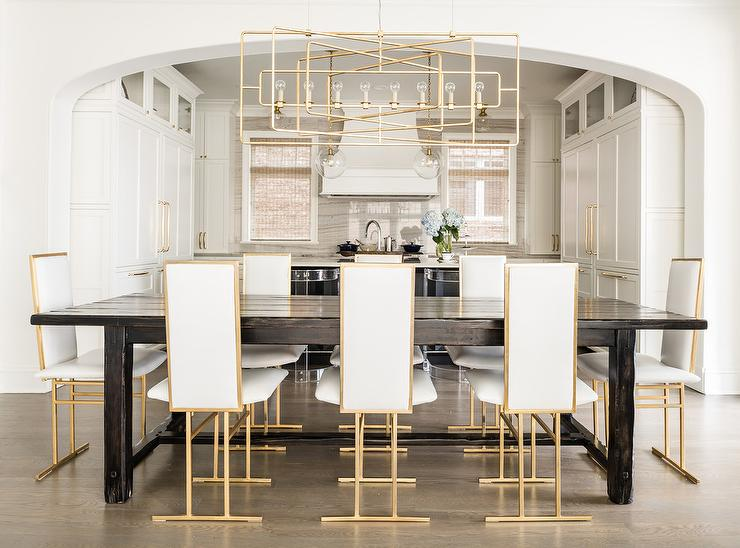 tall back dining chairs la z boy big bonded leather executive office chair white and gold with wood plank table