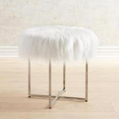 Vanity Chair White Fur Seat Cover Fabric Round Faux Acrylic Stool Patton Nickel