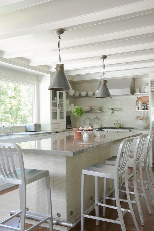 Stove Under Window Transitional Kitchen