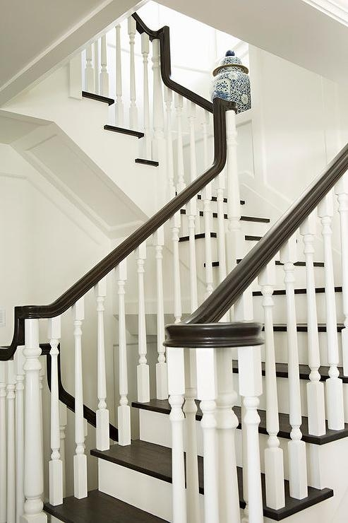 White Staircase Spindles Design Ideas   Black Banister With White Spindles   Round   Antique   Finished Painted Stair   Oak Handrail Basket   Brazilian Cherry Stair