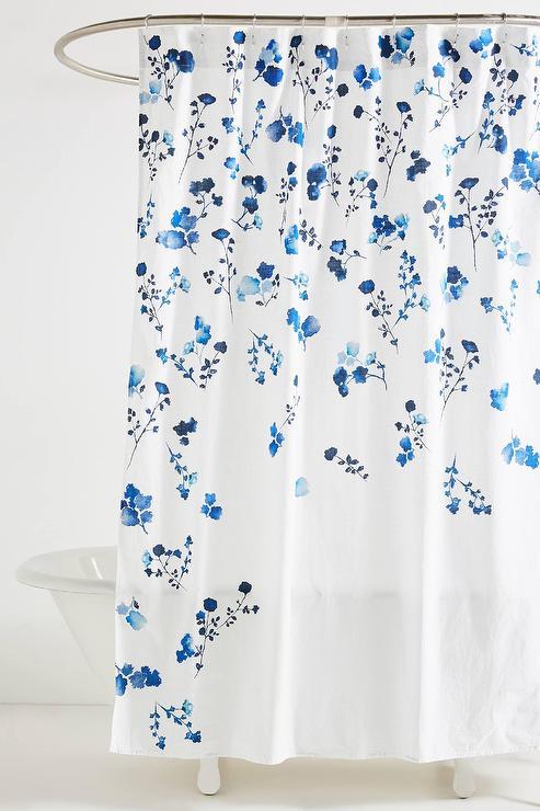 varela navy floral cotton shower curtain
