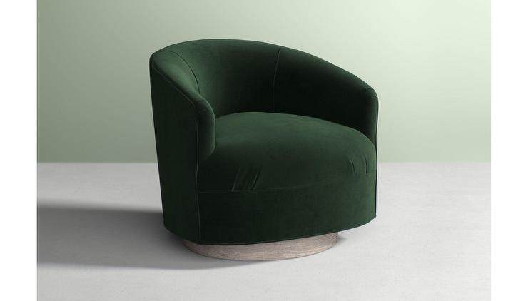 green velvet swivel chair foldable cushion amoret forest curved