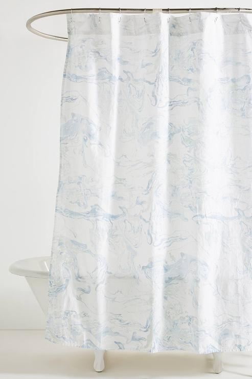 light blue and white shower curtains