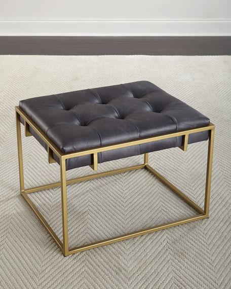 colvin square gray leather brass ottoman