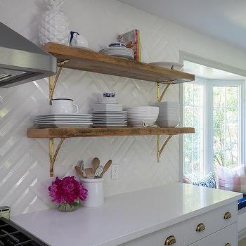 large white herringbone kitchen tiles