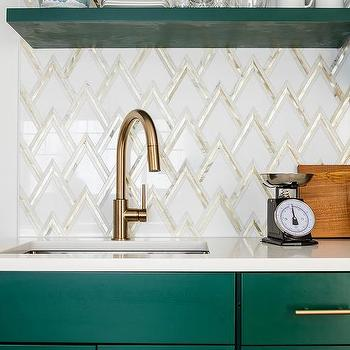 white and gold triangle pattern marble