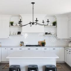 Oiled Bronze Kitchen Faucet Oak Tables Gray Cabinets With White Mini Brick Tiles ...