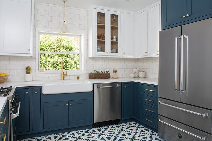 upper kitchen cabinets with glass doors electronic scale dark blue design ideas