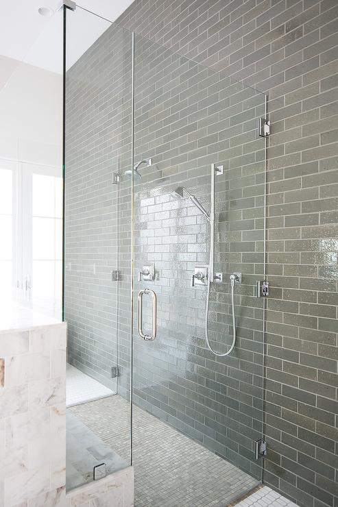 Gray And White Marble Floating Shower Bench Transitional