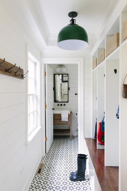 Mudroom With Black And White Tulum Concrete Tile Floor