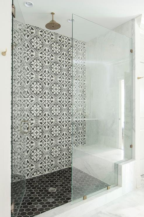 Shower with Black and White Moroccan Tiles  Mediterranean