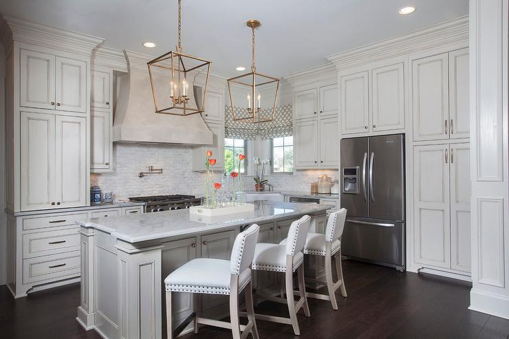 Kitchen With Cream Upper Cabinets And White Lower Cabinets