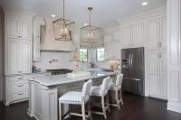 Kitchen with Cream Upper Cabinets and White Lower Cabinets ...