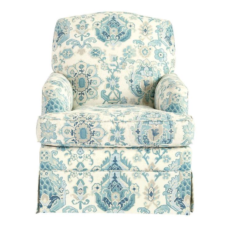 blue glider chair yellow bedroom ireland luxe slipcovered swivel rebecca floral pattern