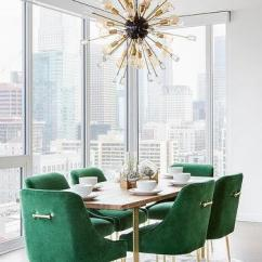Green Dining Room Chairs Large For Living Emerald Design Ideas Velvet With Brass And Wood Table