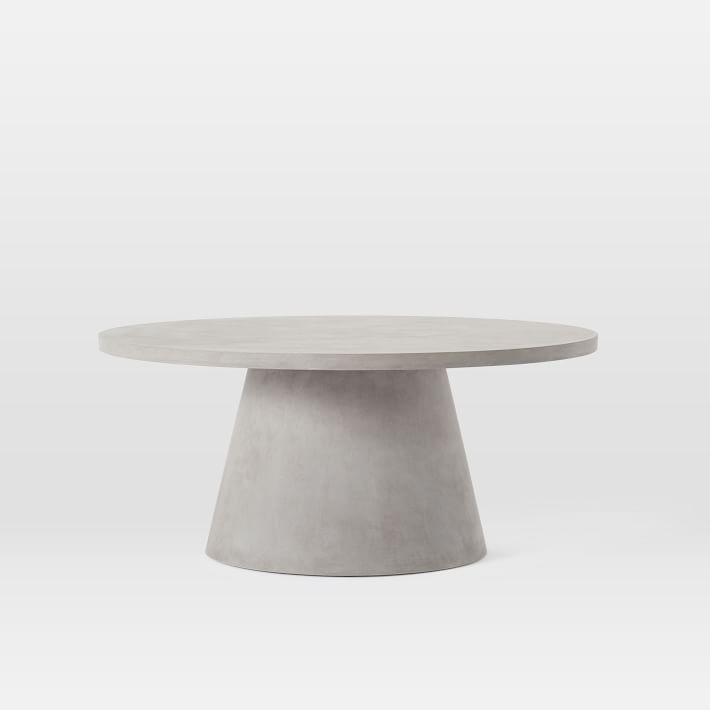 gray concrete pedestal outdoor coffee table