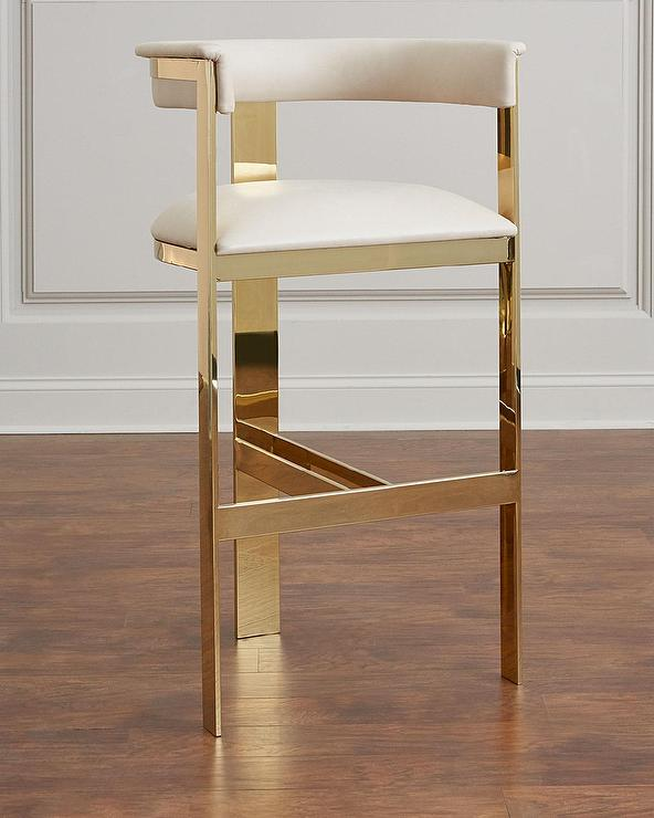 Manhattan White Gold Bar Stool