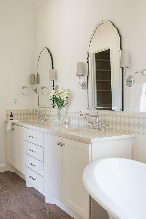 Ivory Dual Bath Vanity with Satin Nickel Pulls