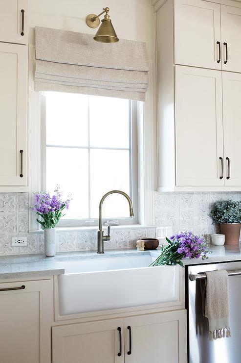 gray tin kitchen tiles with farmhouse