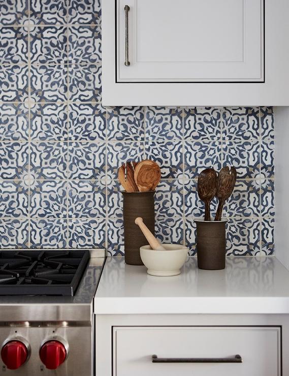blue mediterranean mosaic kitchen