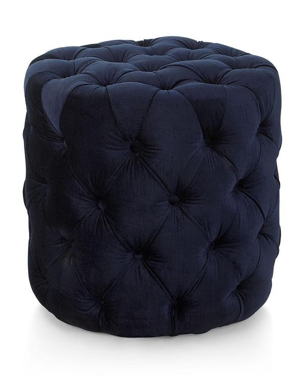 Clara Marine Cotton Fabric Tufted Green Round Ottoman