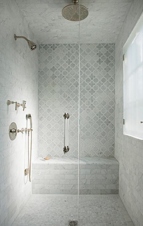 gray marble arabesque shower tiles
