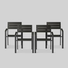 Black Patio Chairs Strongback Chair Canada Bryant 4pk Outdoor Stacking Dining