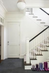 White Staircase Spindles with Stained Railing ...