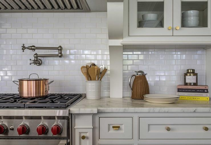 glossy white subway tiles with wolf