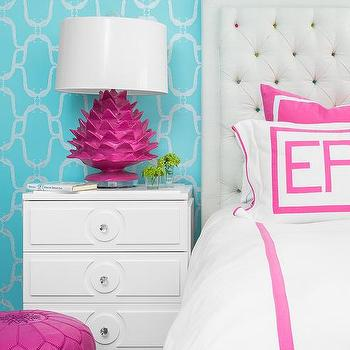 turquoise blue and hot pink bedroom