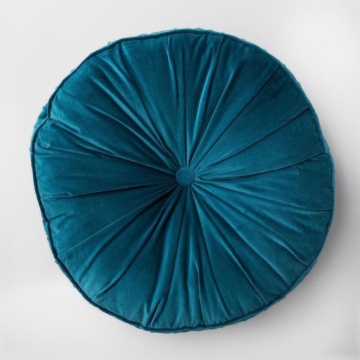 opalhouse round teal velvet button