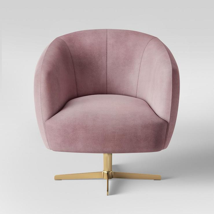 velvet armchair pink chicco floating high chair opalhouse morpho swivel brass arm