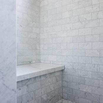 carrera marble hex shower floor design