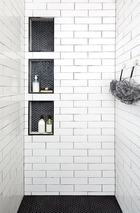 white hex tiles with black grout design