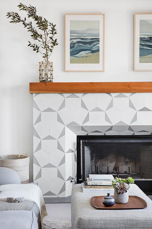 white and gray concrete fireplace tiles