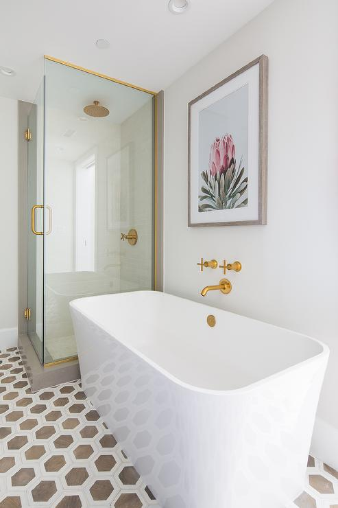 brushed gold wall mount faucet over