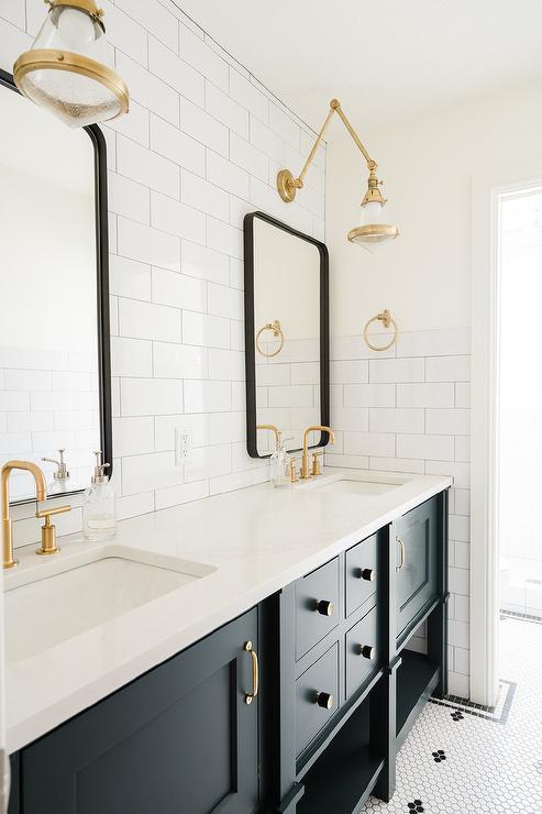 black shaker bath vanity with brass