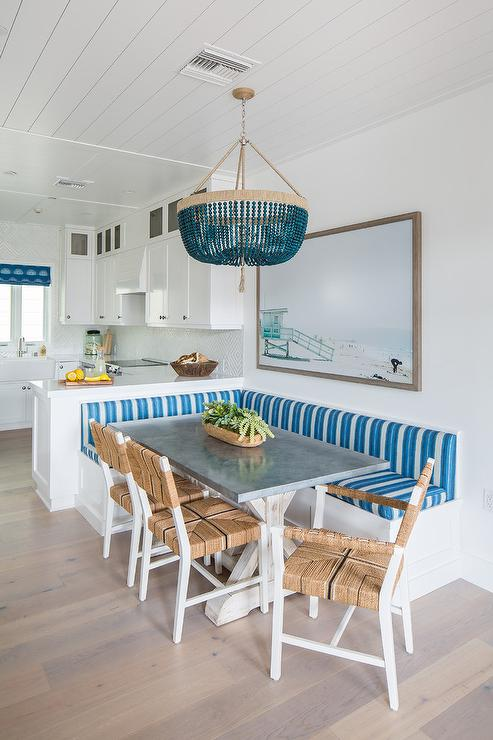 Kitchen Peninsula With L Shaped Dining Bench