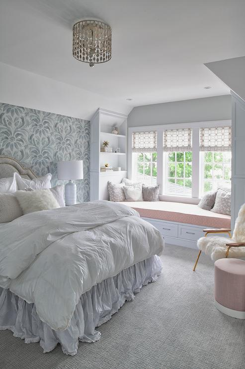 gray ruffled bedskirt