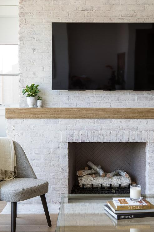 White Brick Kitchen Fireplace Design Ideas