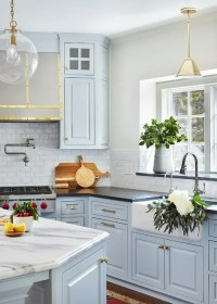 Light Blue Kitchen Cabinets with Farmhouse Sink ...