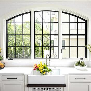 kitchen windows cabinet molding arched design ideas three arch casement over farmhouse sink